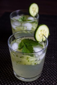 Garnish with cucumber or lime